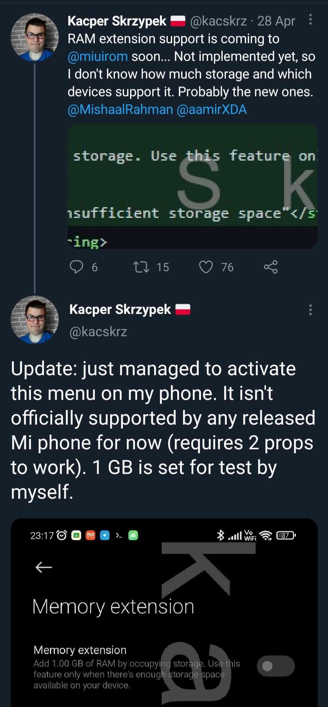 تسريب زيادة مساحة الرامات في هواتف شاومي